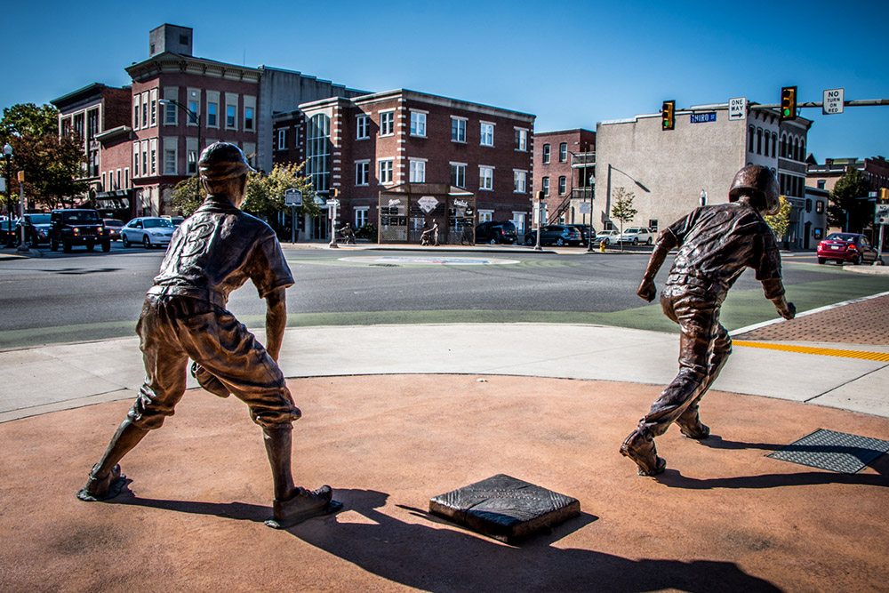 Bases Loaded sculptures in Williamsport