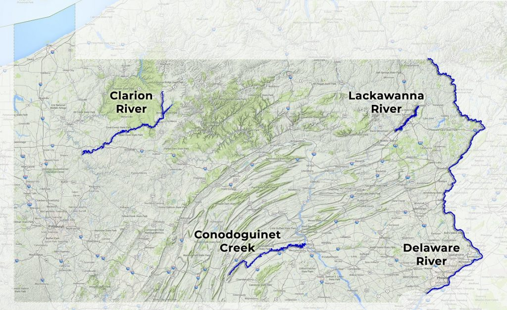 This map of Pennsylvania outlines the four rivers contending for 2019 River of the Year.