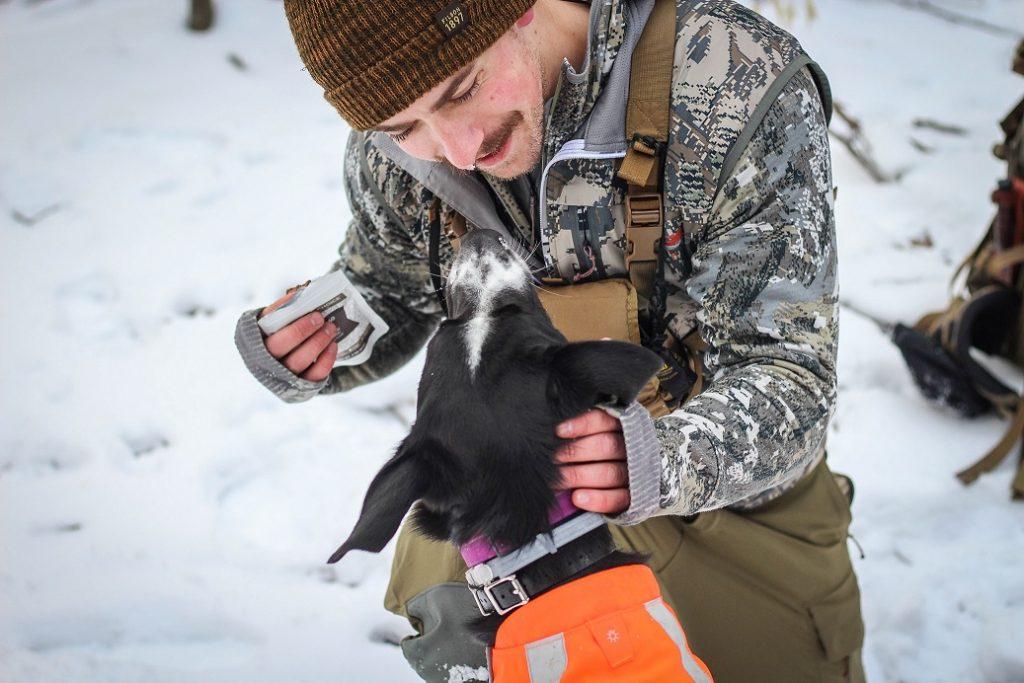 Author Beau Martonik hiking with dog