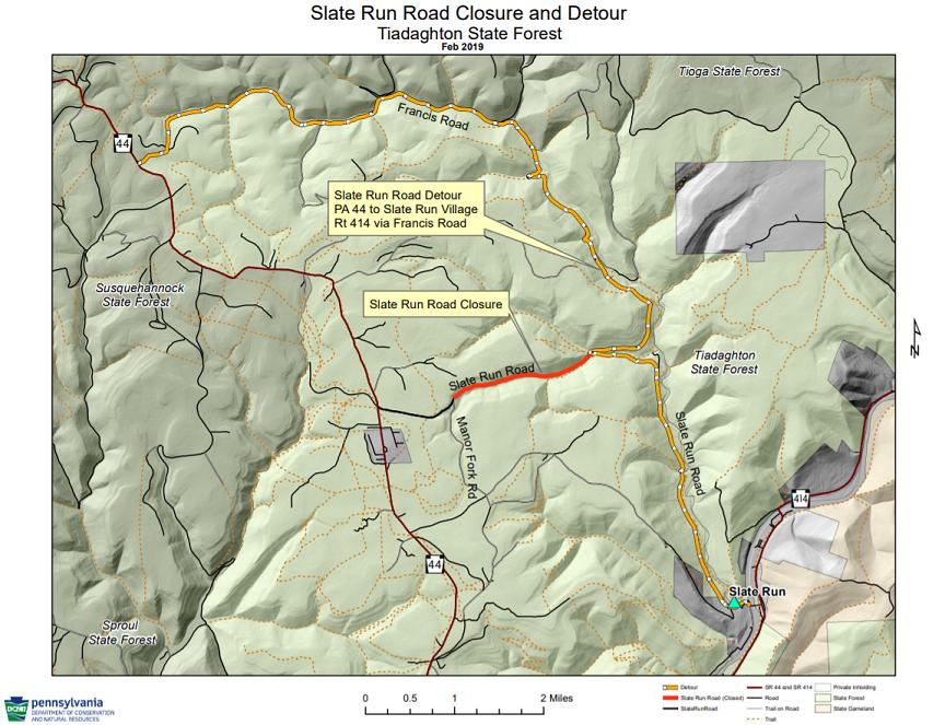 Slate Run Road detour map