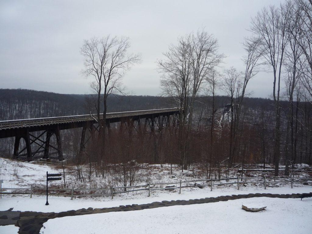 Kinzua Bridge in winter by Lou Bernard