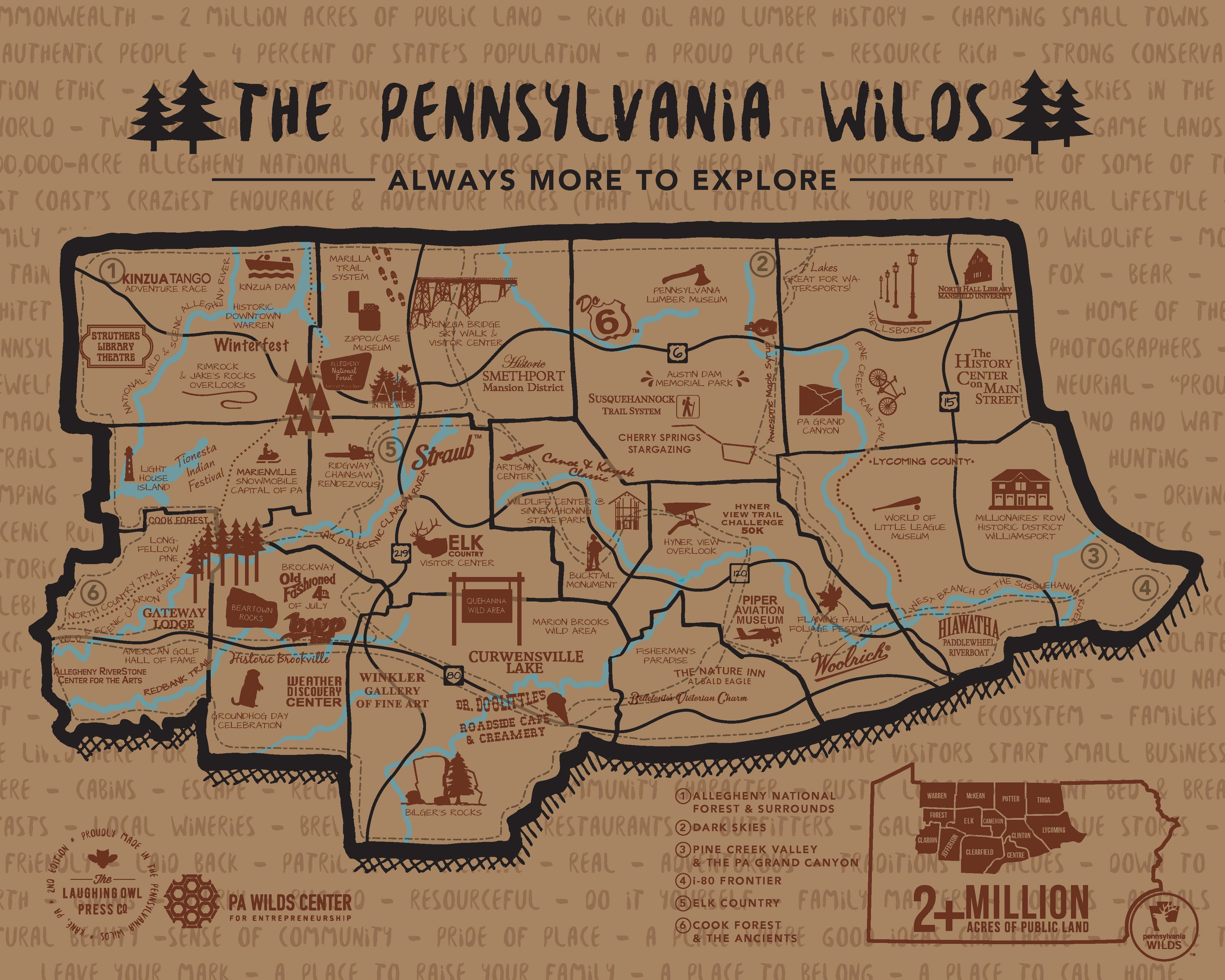 artistic map of the PA Wilds by Laughing Owl Press