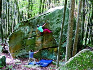 bouldering with spotter PA Wilds