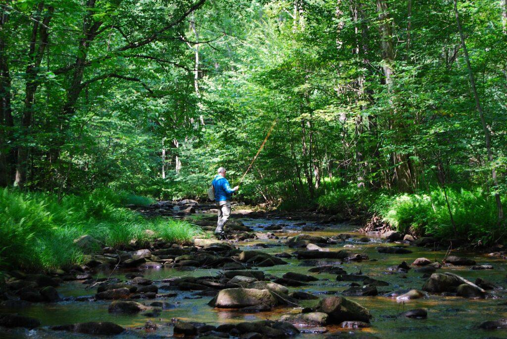 Bob Hallowell fishing photo by Ray Hunt PA Wilds