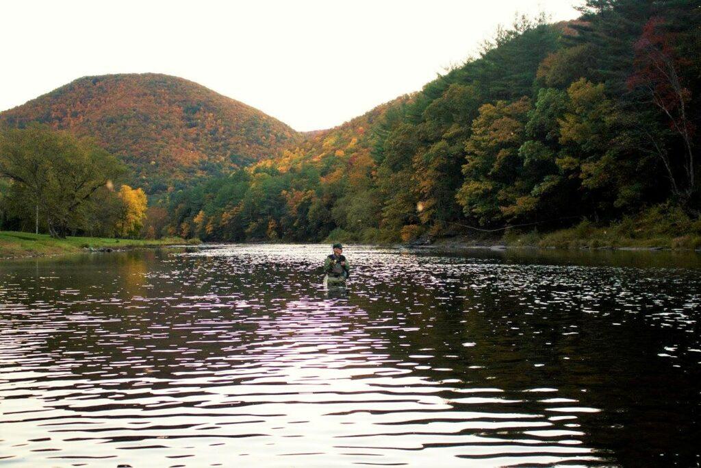 Jed Grove fishing on Pine Creek PA Wilds