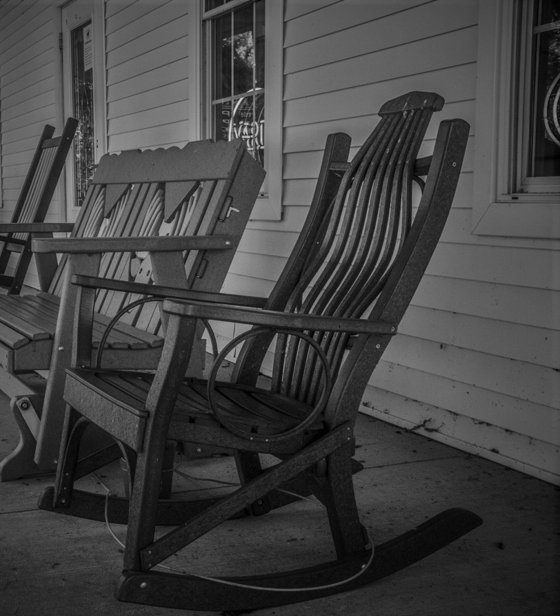 Rocking chair from Waterville Hotel Halloween PA Wilds